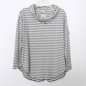 Lou & Grey Black/ White Striped Cowl Neck Top